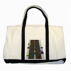 Traffic Road Driving Cars Highway Two Tone Tote Bag