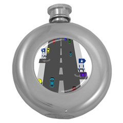 Traffic Road Driving Cars Highway Round Hip Flask (5 oz)