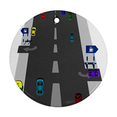 Traffic Road Driving Cars Highway Round Ornament (Two Sides)