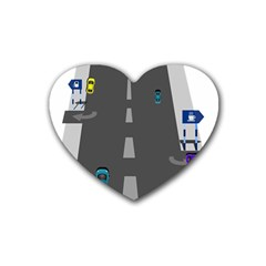Traffic Road Driving Cars Highway Heart Coaster (4 pack)