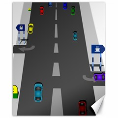 Traffic Road Driving Cars Highway Canvas 11  x 14