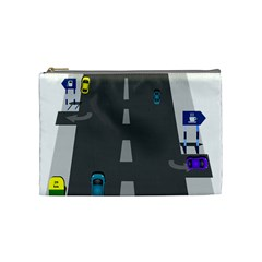 Traffic Road Driving Cars Highway Cosmetic Bag (Medium)