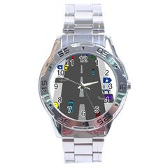 Traffic Road Driving Cars Highway Stainless Steel Analogue Watch