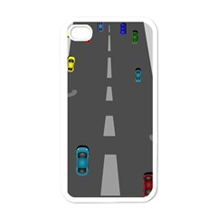 Traffic Road Driving Cars Highway Apple iPhone 4 Case (White)