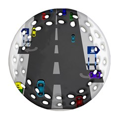 Traffic Road Driving Cars Highway Round Filigree Ornament (2Side)