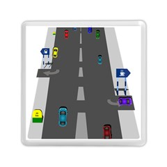 Traffic Road Driving Cars Highway Memory Card Reader (Square)