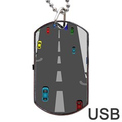 Traffic Road Driving Cars Highway Dog Tag USB Flash (One Side)