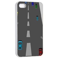 Traffic Road Driving Cars Highway Apple iPhone 4/4s Seamless Case (White)