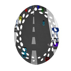Traffic Road Driving Cars Highway Oval Filigree Ornament (2-Side)