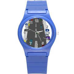 Traffic Road Driving Cars Highway Round Plastic Sport Watch (S)