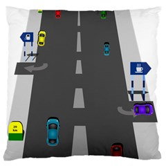 Traffic Road Driving Cars Highway Large Cushion Case (Two Sides)