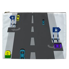 Traffic Road Driving Cars Highway Cosmetic Bag (XXL)