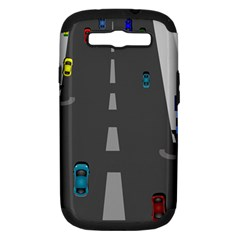 Traffic Road Driving Cars Highway Samsung Galaxy S III Hardshell Case (PC+Silicone)