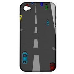 Traffic Road Driving Cars Highway Apple iPhone 4/4S Hardshell Case (PC+Silicone)
