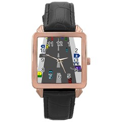 Traffic Road Driving Cars Highway Rose Gold Leather Watch