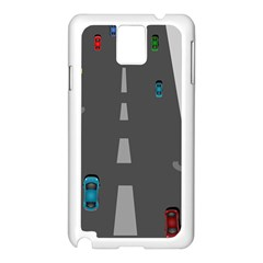Traffic Road Driving Cars Highway Samsung Galaxy Note 3 N9005 Case (White)