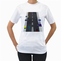 Traffic Road Driving Cars Highway Women s T-Shirt (White)