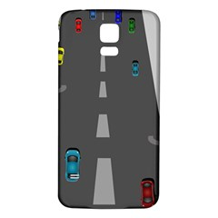 Traffic Road Driving Cars Highway Samsung Galaxy S5 Back Case (White)