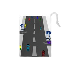 Traffic Road Driving Cars Highway Drawstring Pouches (Small)