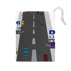 Traffic Road Driving Cars Highway Drawstring Pouches (Large)
