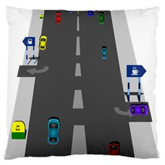 Traffic Road Driving Cars Highway Large Flano Cushion Case (One Side)