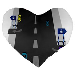 Traffic Road Driving Cars Highway Large 19  Premium Flano Heart Shape Cushions