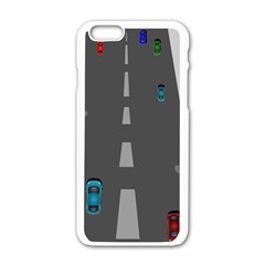 Traffic Road Driving Cars Highway Apple iPhone 6/6S White Enamel Case