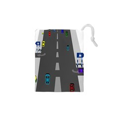 Traffic Road Driving Cars Highway Drawstring Pouches (XS)