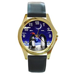 Small Gift For Xmas Christmas Round Gold Metal Watch
