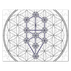 Tree Of Life Flower Of Life Stage Rectangular Jigsaw Puzzl
