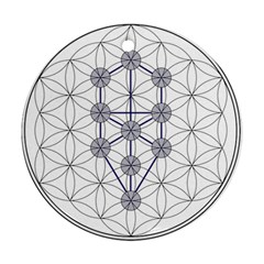Tree Of Life Flower Of Life Stage Round Ornament (Two Sides)