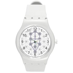 Tree Of Life Flower Of Life Stage Round Plastic Sport Watch (M)