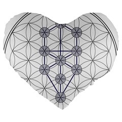 Tree Of Life Flower Of Life Stage Large 19  Premium Heart Shape Cushions
