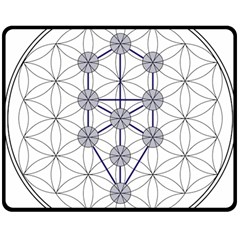 Tree Of Life Flower Of Life Stage Double Sided Fleece Blanket (Medium)
