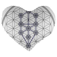 Tree Of Life Flower Of Life Stage Large 19  Premium Flano Heart Shape Cushions