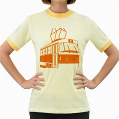 Tramway Transportation Electric Women s Fitted Ringer T-Shirts