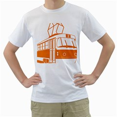 Tramway Transportation Electric Men s T-Shirt (White) (Two Sided)