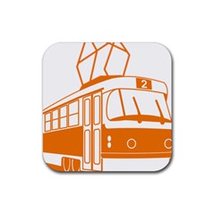 Tramway Transportation Electric Rubber Square Coaster (4 pack)