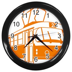 Tramway Transportation Electric Wall Clocks (Black)