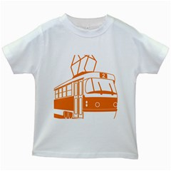Tramway Transportation Electric Kids White T-Shirts