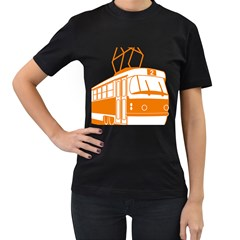 Tramway Transportation Electric Women s T-Shirt (Black) (Two Sided)