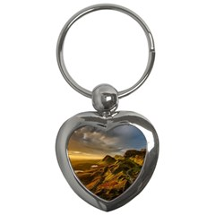 Scotland Landscape Scenic Mountains Key Chains (Heart)
