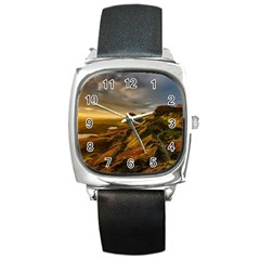 Scotland Landscape Scenic Mountains Square Metal Watch