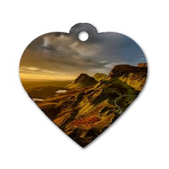 Scotland Landscape Scenic Mountains Dog Tag Heart (One Side)