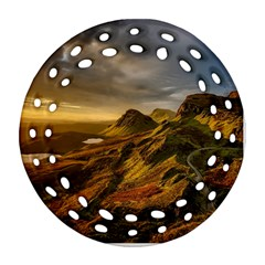 Scotland Landscape Scenic Mountains Round Filigree Ornament (2Side)