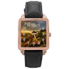 Scotland Landscape Scenic Mountains Rose Gold Leather Watch