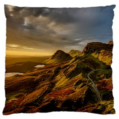 Scotland Landscape Scenic Mountains Large Flano Cushion Case (Two Sides)