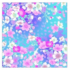 colorful pastel  flowers Large Satin Scarf (Square)