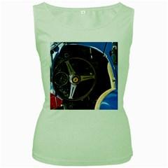 Steering Wheel Ferrari Blue Car Women s Green Tank Top