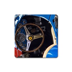 Steering Wheel Ferrari Blue Car Square Magnet